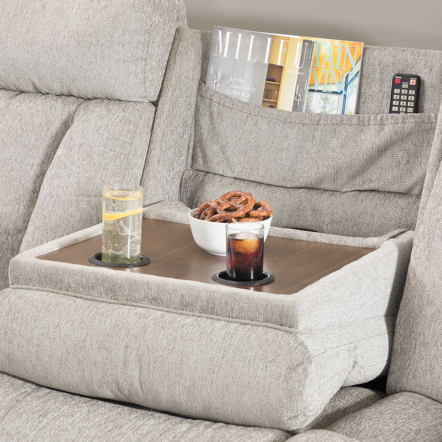 Mitchiner Grey Reclining Sofa With Drop Down Table