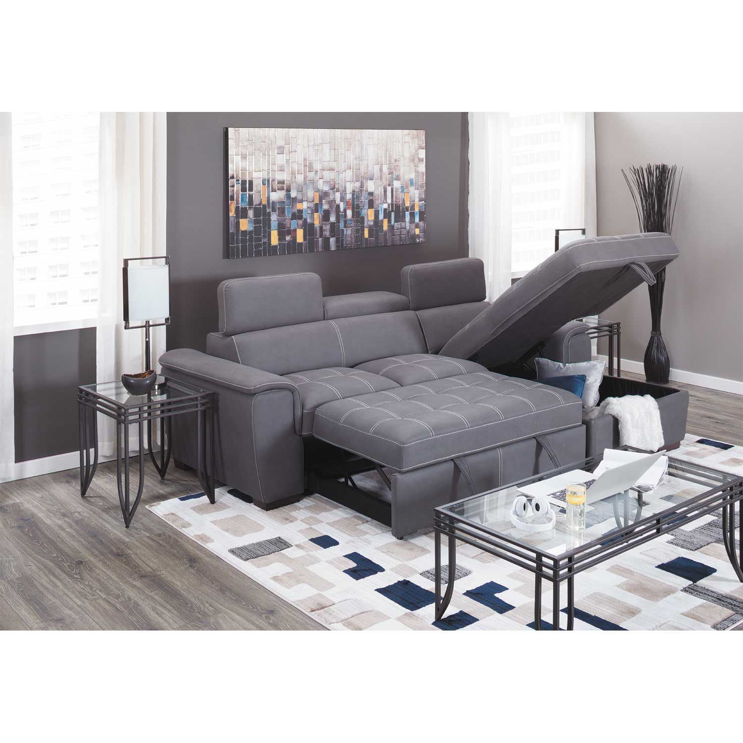 Levi 2 Piece Sectional With Pull Out Bed Condor