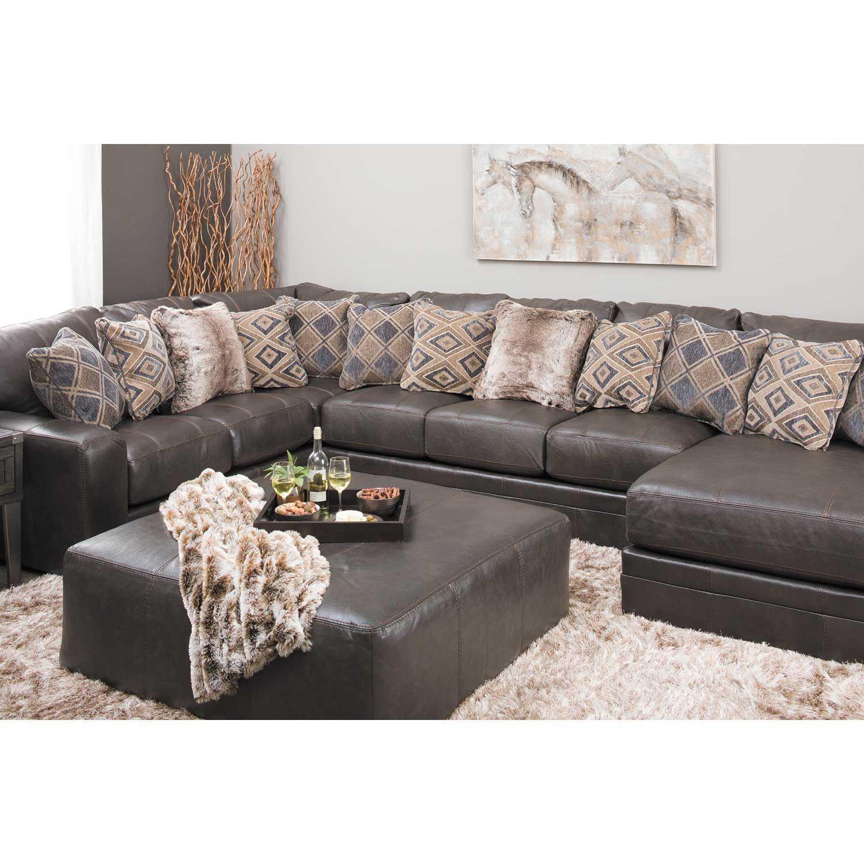 Area Furniture Stores: Denali Italian Leather 40x40 Ottoman