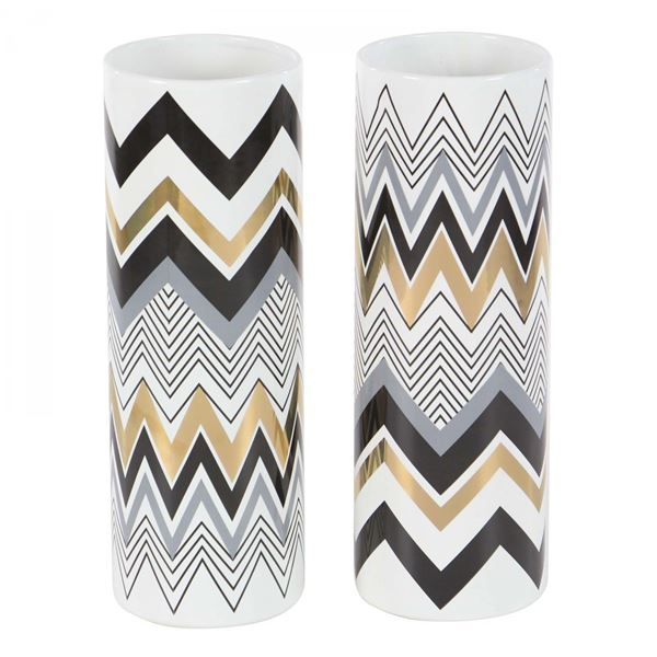 Picture of Set of Two Assorted Black, Gold, and Gray Vases