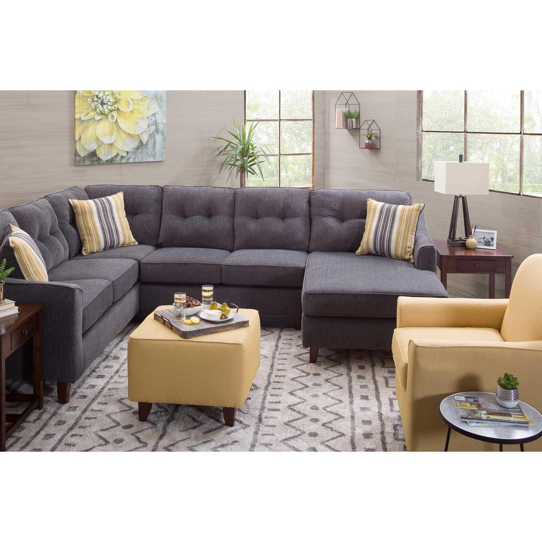Sydney Gray 3 Piece Sectional Washington Furniture Afw