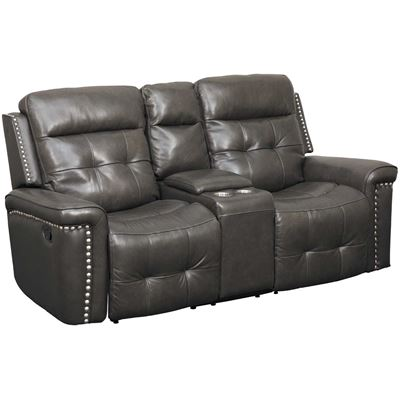 Picture of Kenzie Leather Reclining Console Loveseat