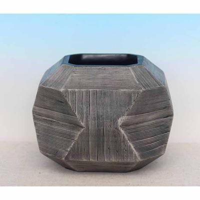 Imagen de Etched Concave Taupe Vase