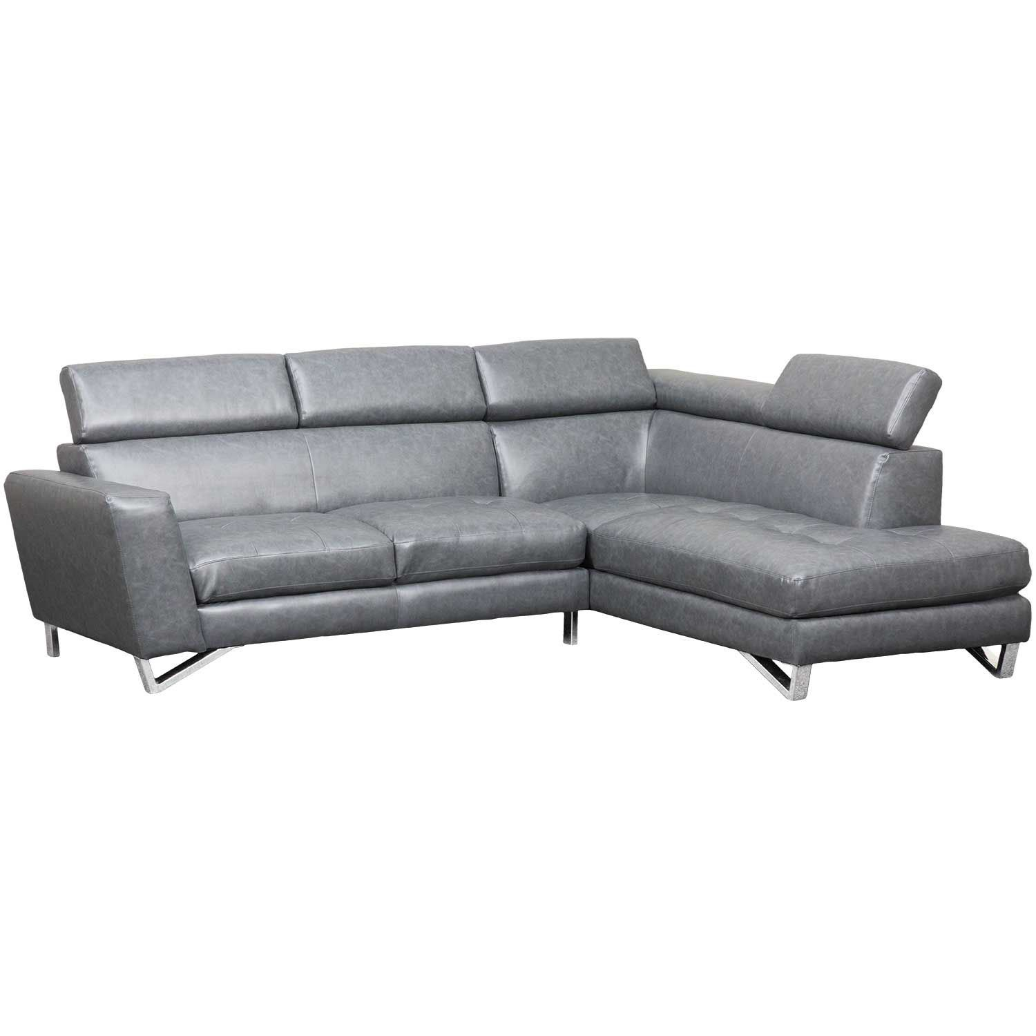 Gray 2 PC Bonded Leather Sectional 1M-9836-2PC