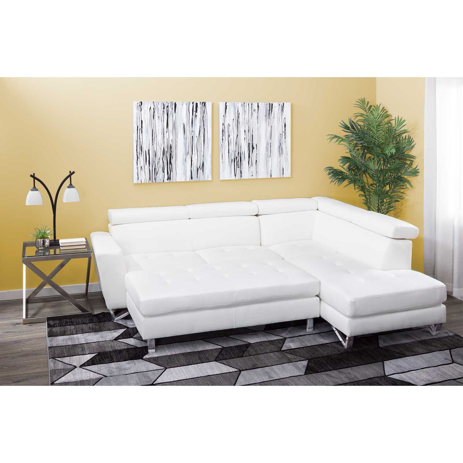 1m1 9836 2pc White 2 Pc Bonded Leather Sectional 98360