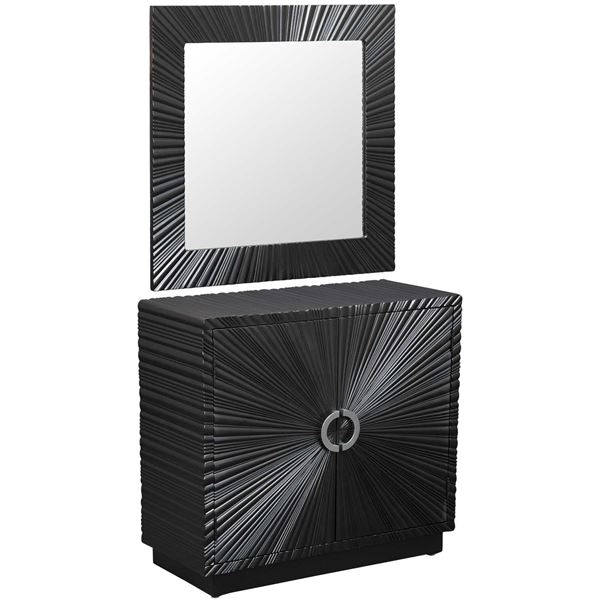 Picture of Black Cabinet and Mirror Set