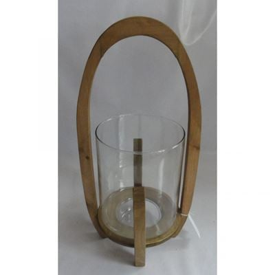 Imagen de Glass Wood Candle Holder
