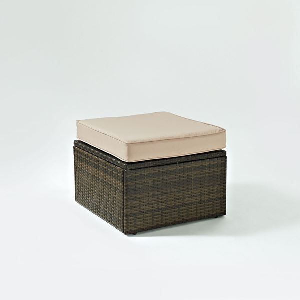 Picture of PALM HARBOR OUTDOOR WICKER OTTOMAN IN BROWN WITH S