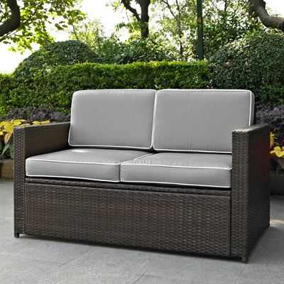 Picture of PALM HARBOR OUTDOOR WICKER LOVESEAT IN BROWN WITH
