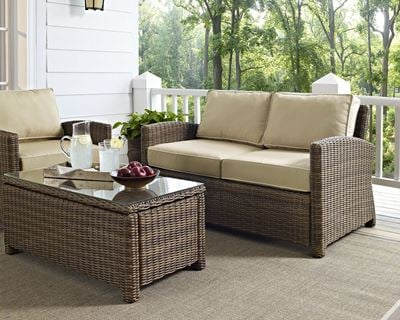 Picture of BRADENTON OUTDOOR WICKER LOVESEAT WITH SAND CUSHIO