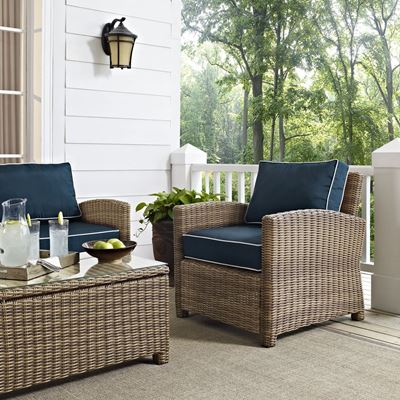 Picture of BRADENTON OUTDOOR WICKER ARM CHAIR WITH NAVY CUSHI