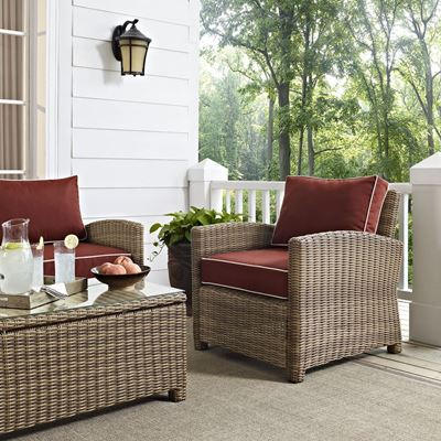Picture of BRADENTON OUTDOOR WICKER ARM CHAIR WITH SANGRIA CU