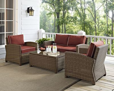 Imagen de BRADENTON 4 PIECE OUTDOOR WICKER SEATING SET WITH