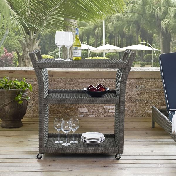 Picture of PALM HARBOR OUTDOOR WICKER BAR CART