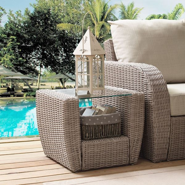 Picture of ST AUGUSTINE OUTDOOR WICKER SIDE TABLE IN WEATHERE