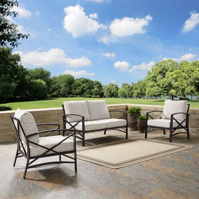 Picture of KAPLAN 3 PC OUTDOOR SEATING SET WITH OATMEAL CUSHI