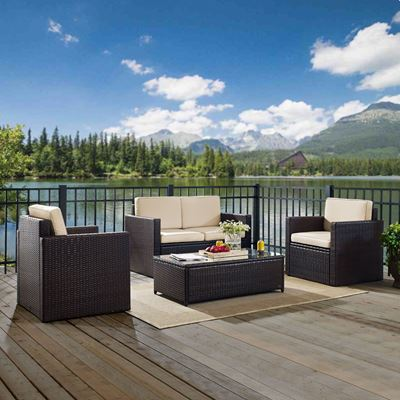 Picture of PALM HARBOR 4 PIECE OUTDOOR WICKER SEATING SET WIT