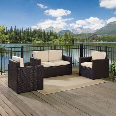 Picture of PALM HARBOR 3 PIECE OUTDOOR WICKER SEATING SET WIT