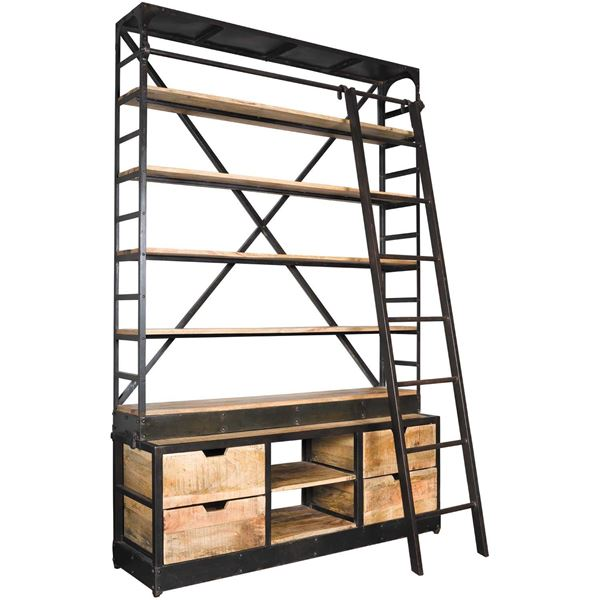 picture of wide ladder library shelf - Metal Library Bookshelves