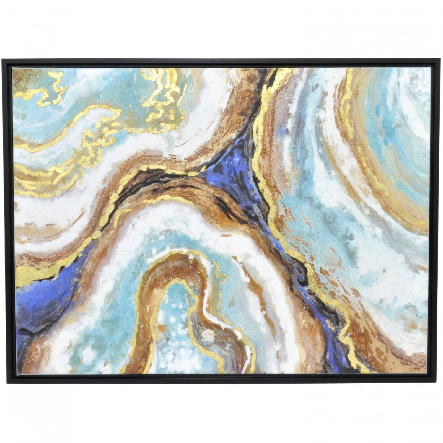 Blue And Gold Painting With Frame