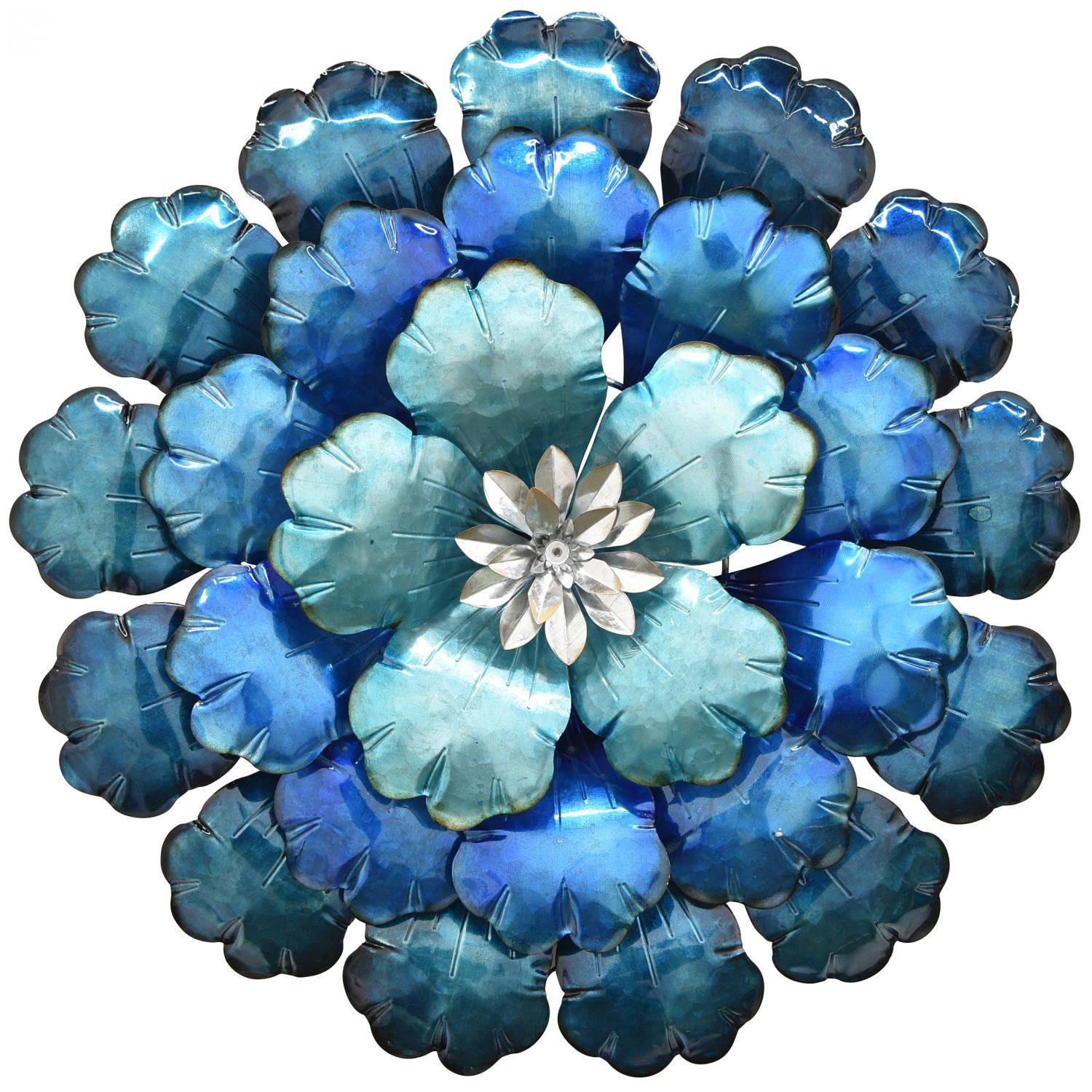 Large Blue Metal Flower Wall Decor 10692 Cp4 Three Hands