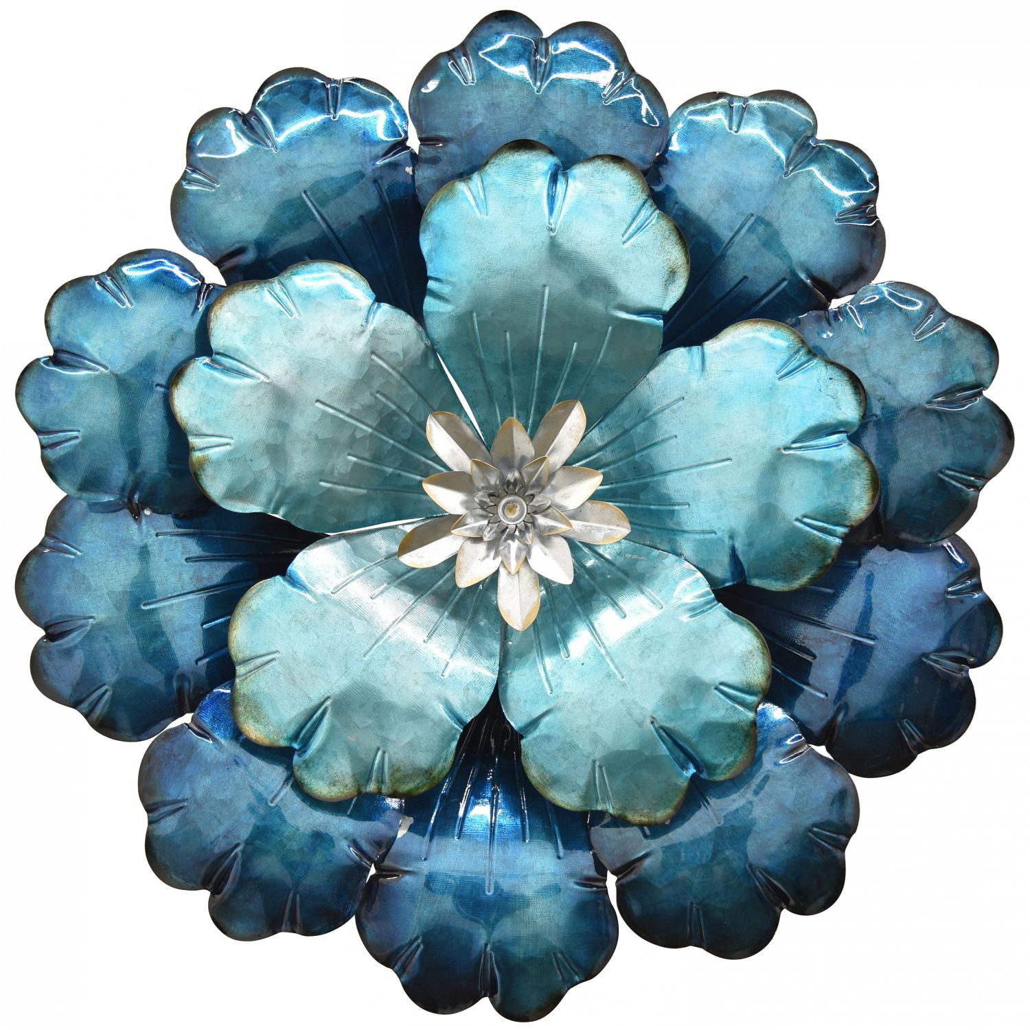 Blue Metal Flower Wall Decor 10693 Cp6 Three Hands Corporation Afw