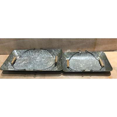 Imagen de Set of Two Galvanized Metal Trays