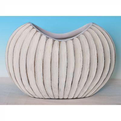 Imagen de Oval Ridged White Vase
