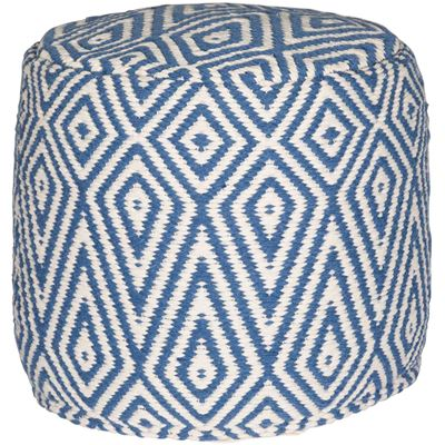 Picture of Shell Diamond Pouf in Cream and Navy