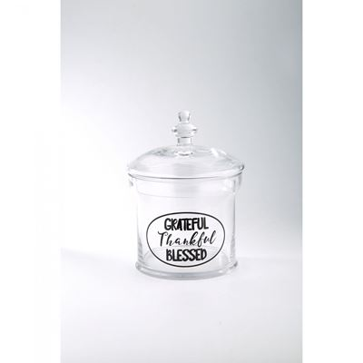 Imagen de Clear Glass Grateful Jar
