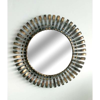 Picture of Round Bronze Metal Wall Mirror