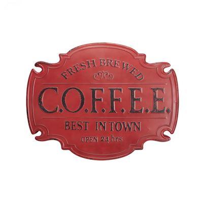 Imagen de Red Metal Coffee Sign