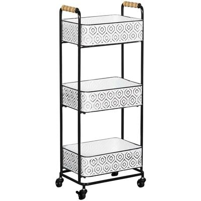 Picture of Three Tier White and Black Metal Cart