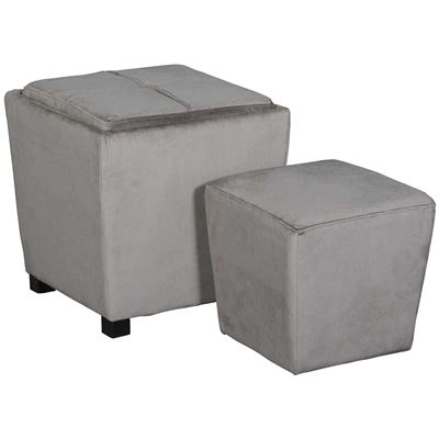Picture of 2 PIECE OTTOMAN SET, DARK GRY