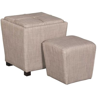 Picture of 2 PIECE OTTOMAN SET, LIGHT GRY