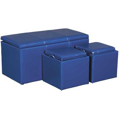 Picture of 3 PIECE OTTOMAN SET, BLUE