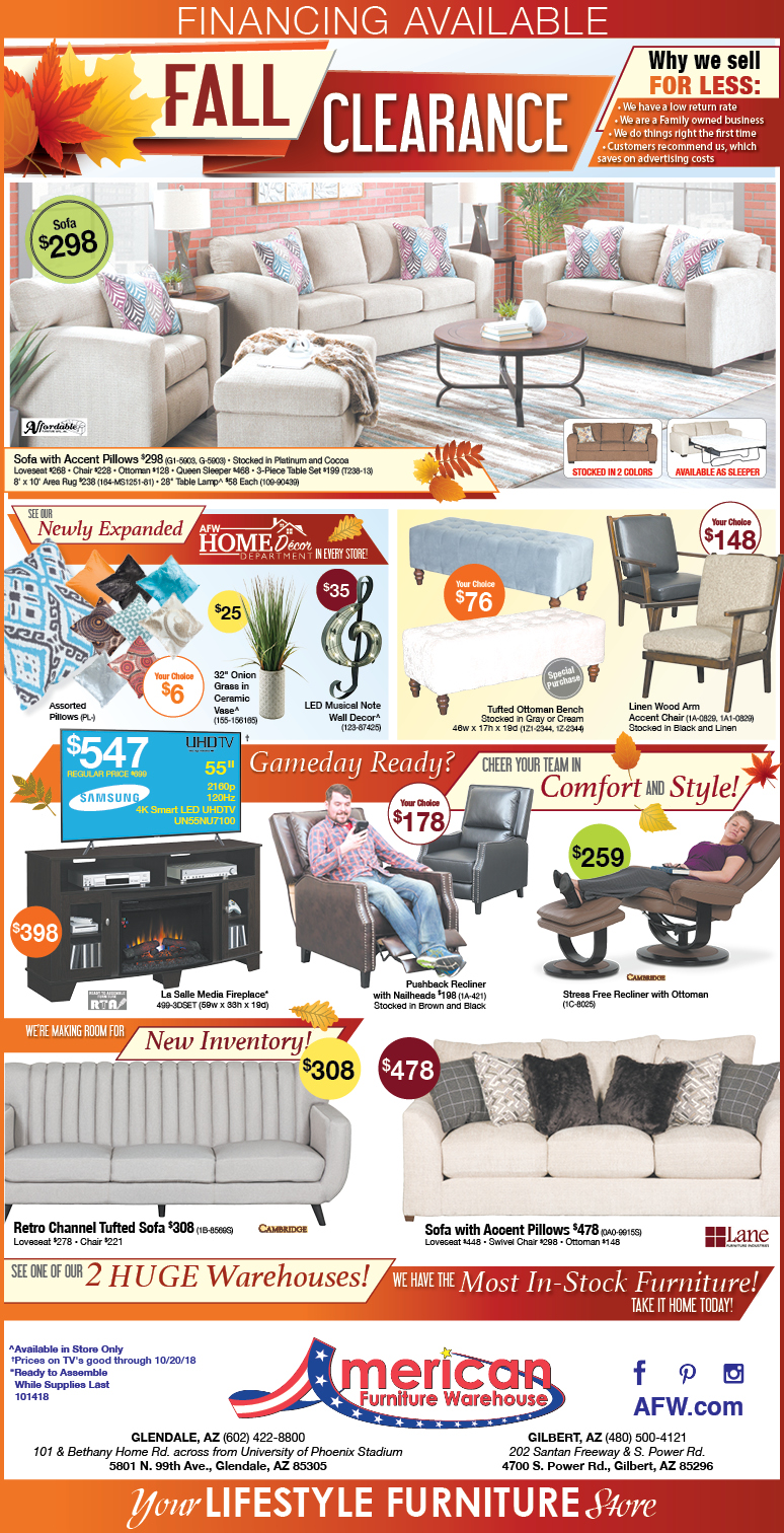 Fall Clearance Event Savings Arizona Furniture Ad | Lowest Prices on Furniture