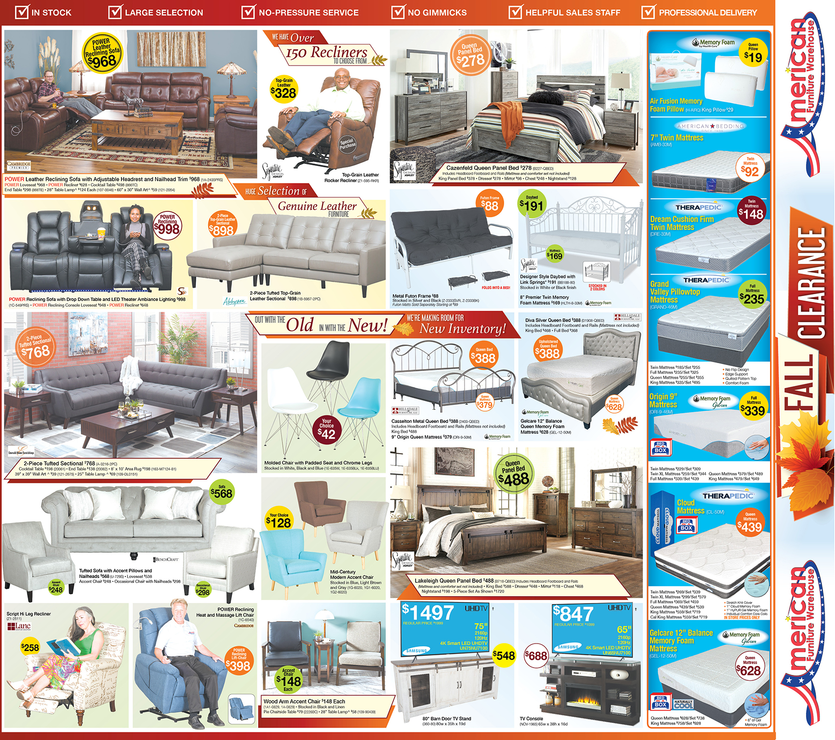 Fall Clearance Event Savings Arizona Ad for Sleeper Sofas, Beds, Patio Furniture & More | Best Buys and Large Selection in Mattresses and furniture