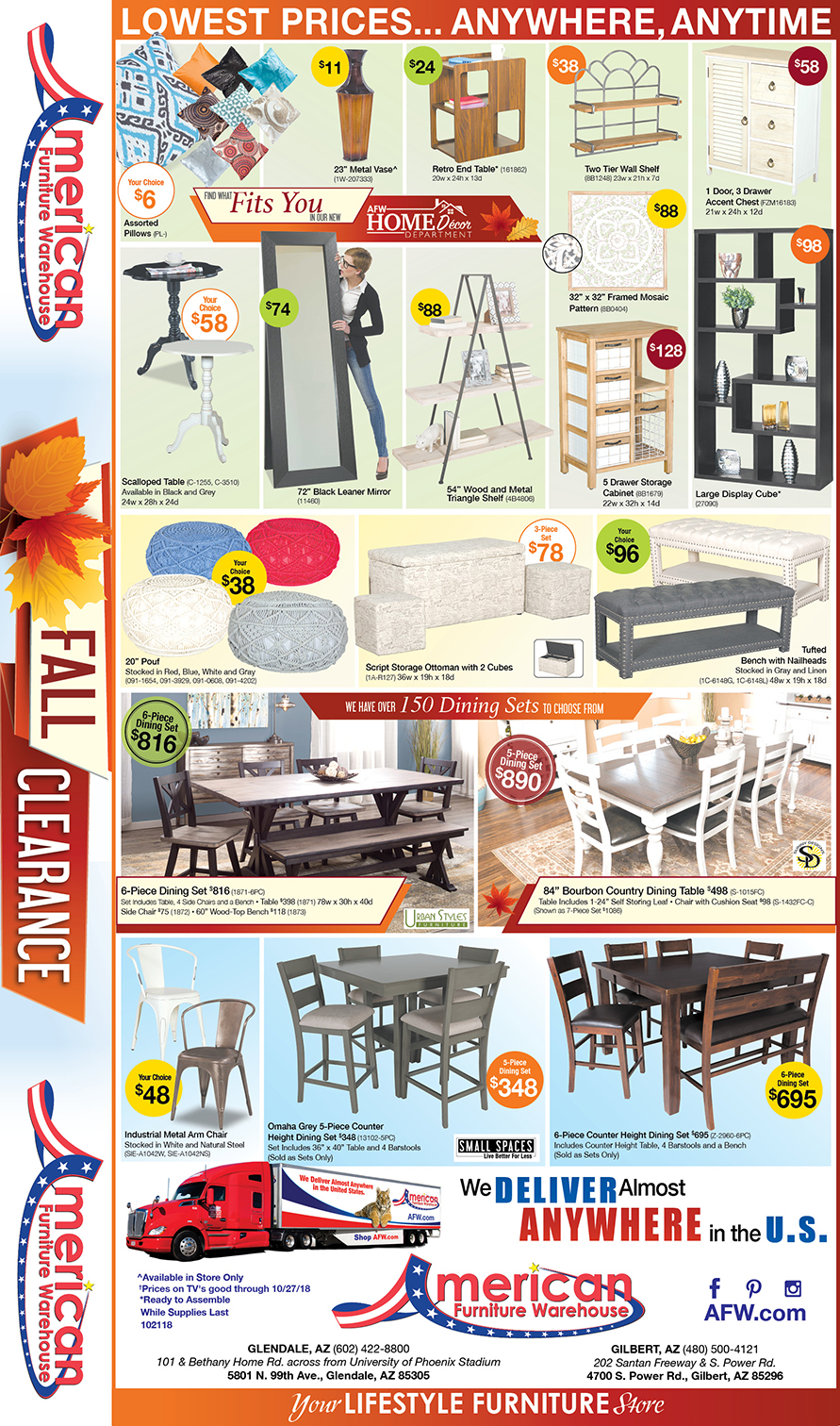 Fall Clearance Event Savings Arizona's Living Room Furniture Newspaper Ad | Lowest Prices on Furniture