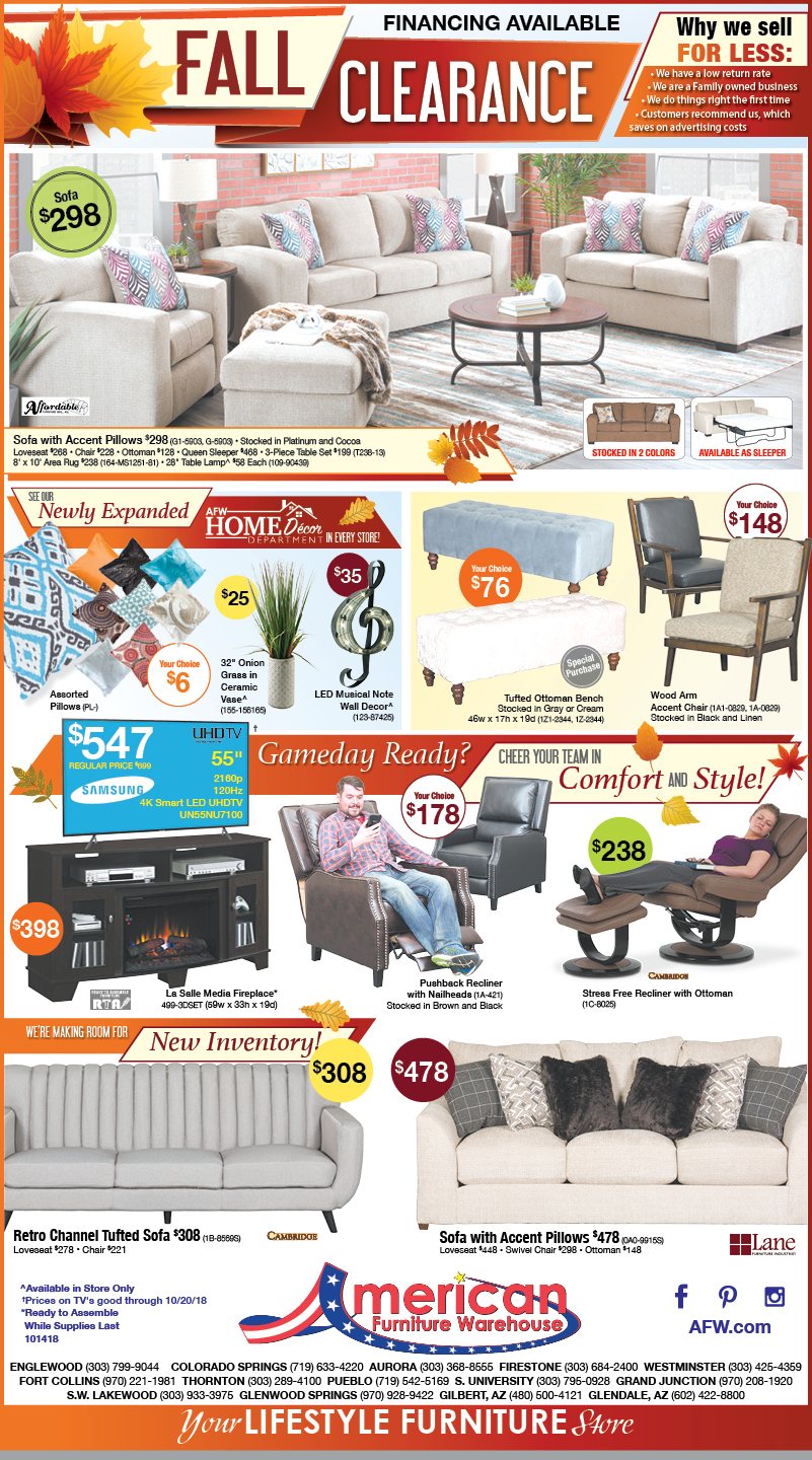 Fall Clearance Event savings Colorado furniture ad | Best prices anywhere