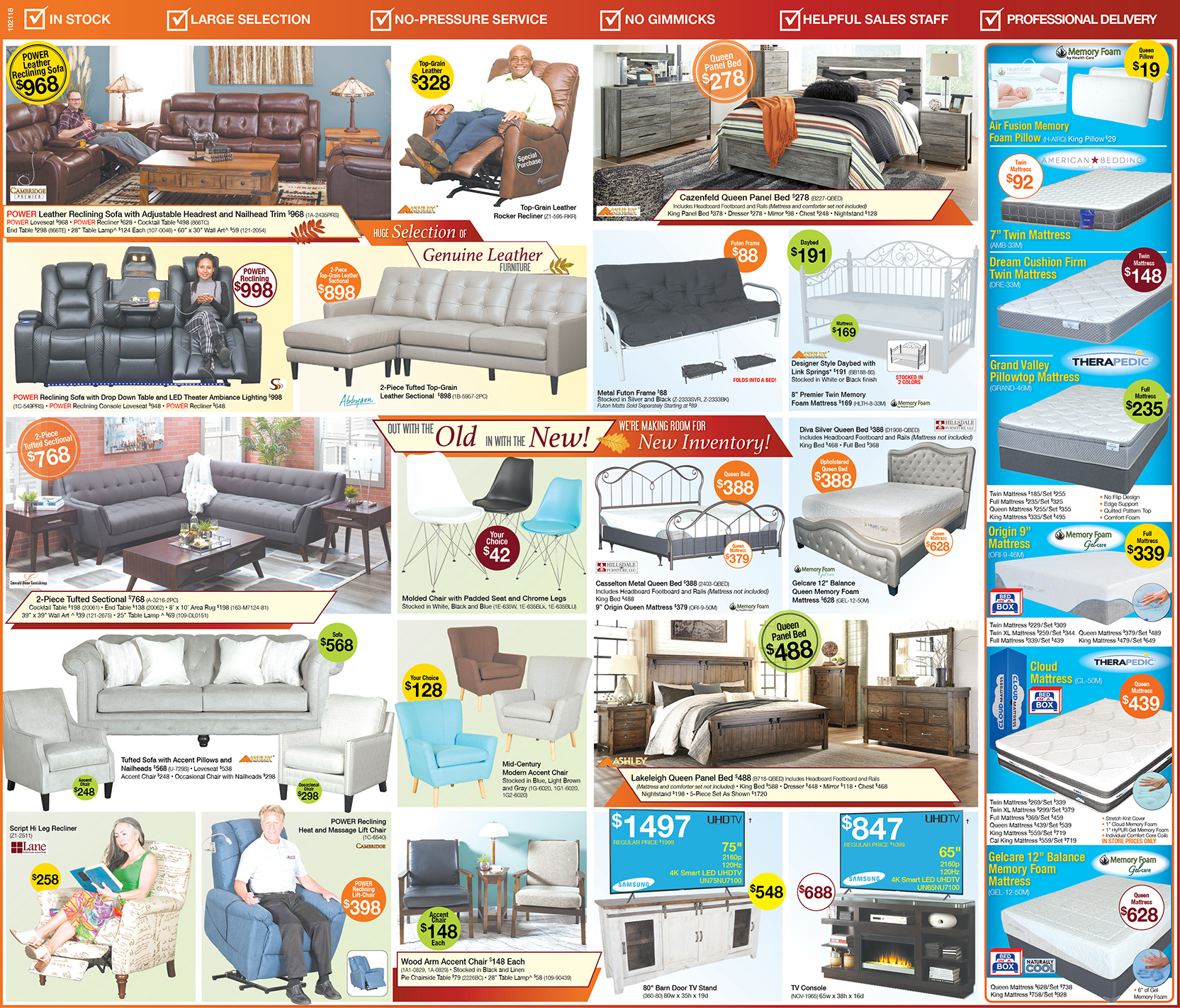 Fall Clearance Event Savings Ad for Sleeper Sofas, Beds, Patio Furniture & More | Best Prices on living room furniture