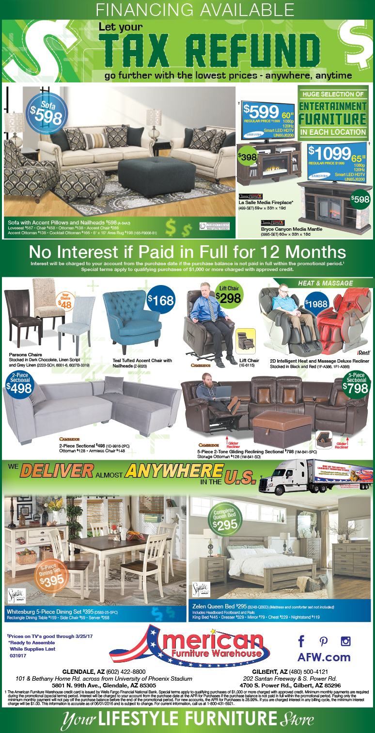 Arizona Put your Tax Return to Good Use Ads | Lowest Prices on Furniture