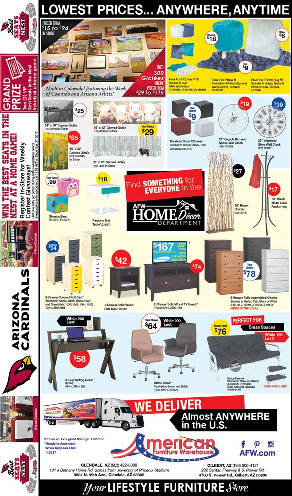 Arizona Cardinals Weekly Contest Giveaways Newspaper Ad | Lowest Prices on Furniture