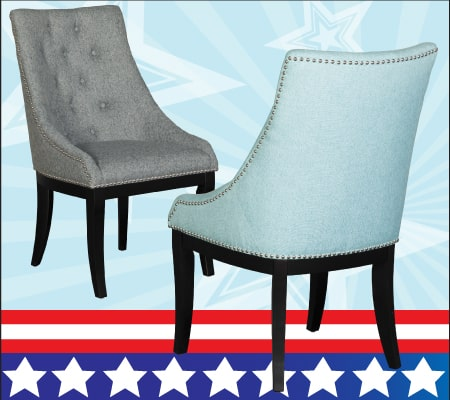 Wing Back Blue Chair