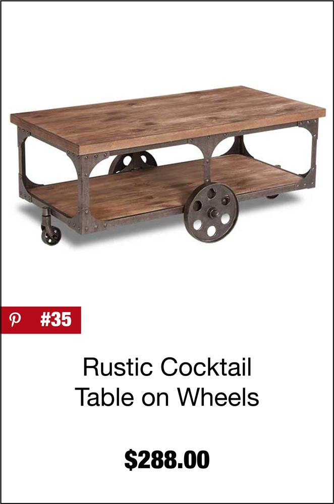 Rustic Cocktail Table on Wheels