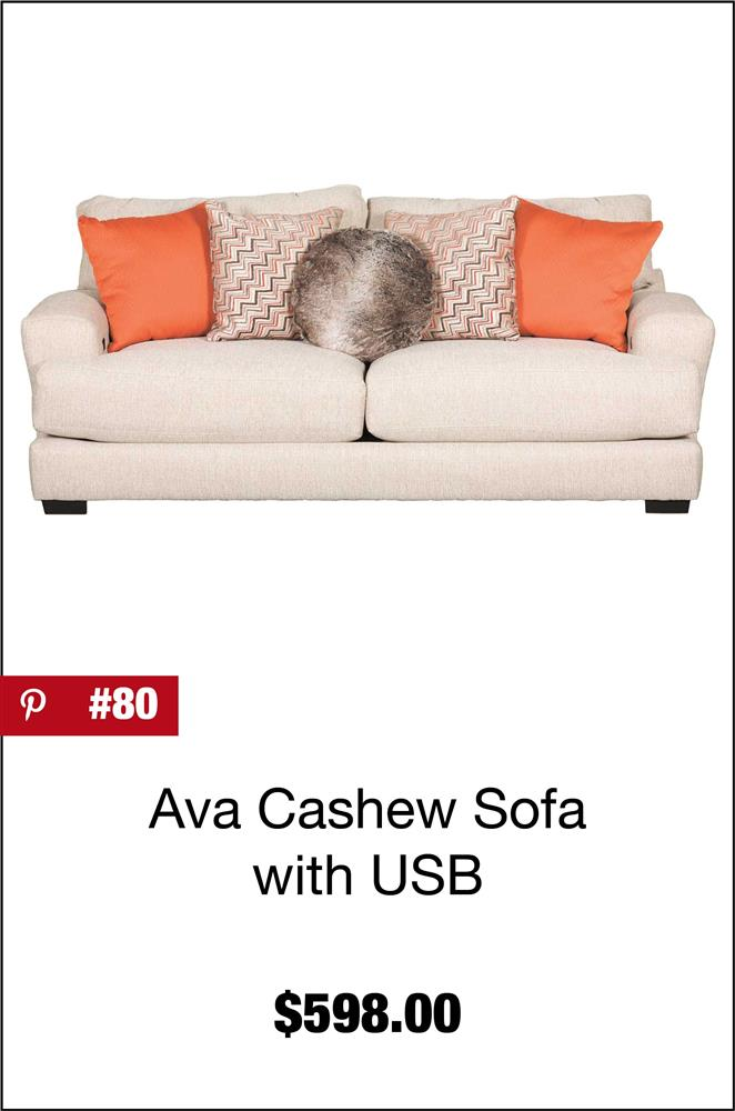 Ava Cashew Sofa with USB Charging Ports