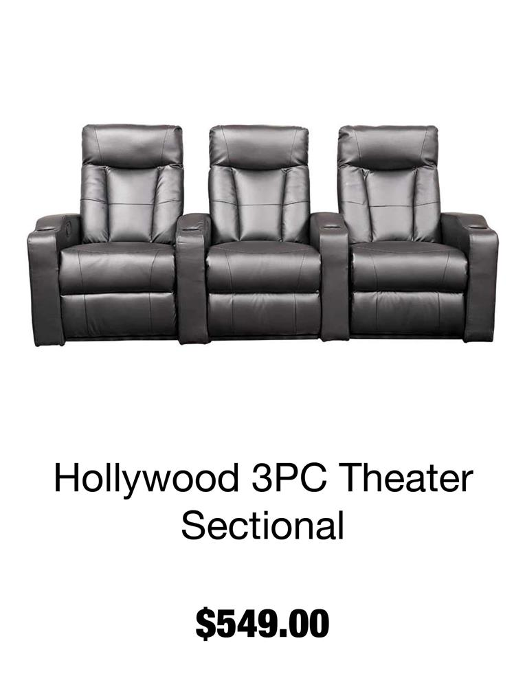 Hollywood 3 PC Theater Sectional