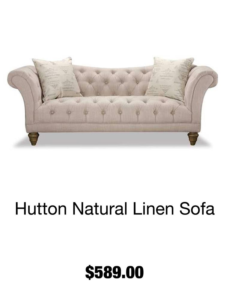 Hutton Natural Linen Sofa