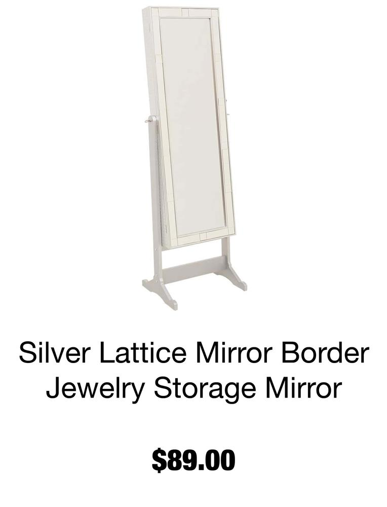 Silver Lattice Mirror Border Jewelry Storage Mirror
