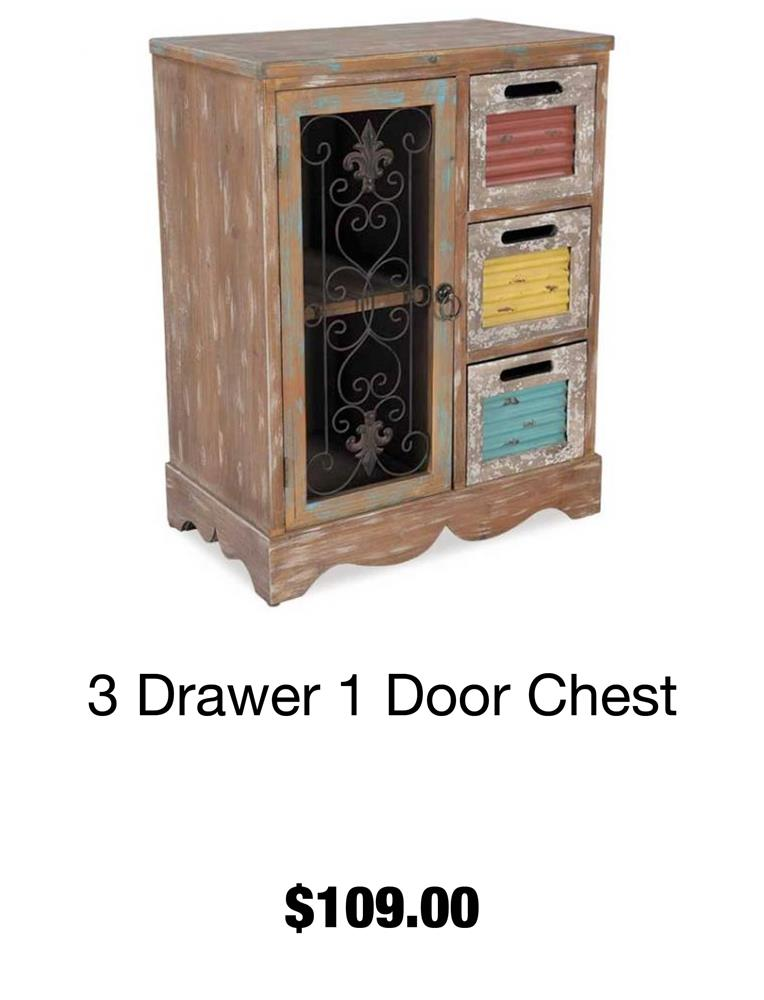 3 Drawer 1 Door Chest